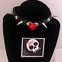 Faux Leather Rose & Spikes Choker