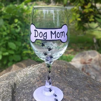 Dog Mom hand-painted wine glass