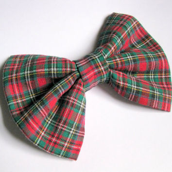 Plaid fabric bow - girls bows - preppy school uniforms hair clip - womens hair accessories - red green Rockabilly hairclips - Classic tuxedo