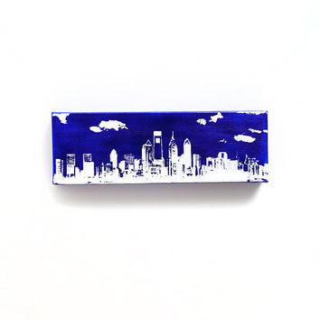 Philadelphia Skyline II Canvas (Blue with White) Screenprint/Painting, Philadelphia Wall Art, Blue Home Decor, Urban Art, Philadelphia Print
