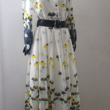 14-1107 Vintage Floral Rayon Maxi Dress with Belt / Garden Scene / Double Notched Collar / Long Dress With Flowers / Blue and Yellow Flowers