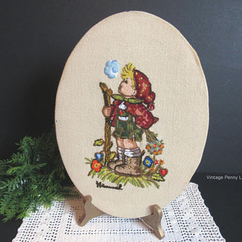 Vintage Salvaged Completed Embroided Tapestry, Hummel Embroidery, Handmade Crewel