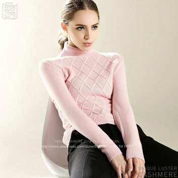 2016 Women 100% Cashmere Rib Turtleneck Front Diamond Brocade and Seed Stitch Pullover 7G Thick Pullover Sweater Winter m1628