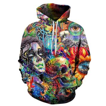 Skull Hoodies - Men's Novelty Pullover Hooded Sweatshirts