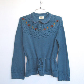 Vintage 1970s Boho / Light Blue Open Weave Knit Sweater / Floral Details / Drawstring Waist