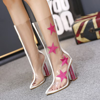 Fashion pvc star style pointed toe crystal with transparent paillette high-heeled boots  Kardashian season2