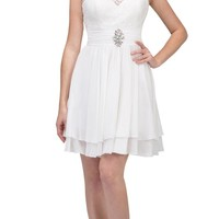 Starbox USA S6146 Sleeveless Bateau Neck Lace Bodice Short Bridesmaids Dress Off White