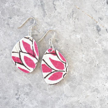 Large Pink Earrings for Women, Fuchsia Dangle Earrings, Bright and Bold, Fabric, Leather and Sterling Silver Hooks, Eco-Friendly Jewelry