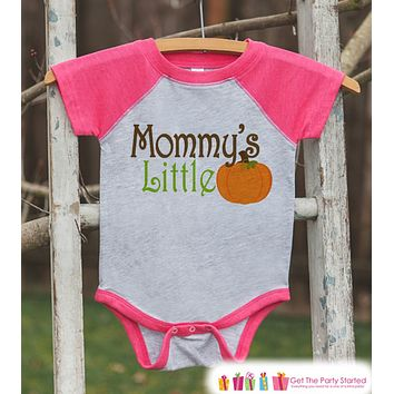 Mommy's Little Pumpkin - Kids Pumpkin Outfit - Girls Pumpkin Shirt - Pink Raglan Tshirt or Onepiece - Youth, Kids, Baby, Toddler Halloween