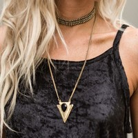 Into The Night Layered Arrow Choker Necklace