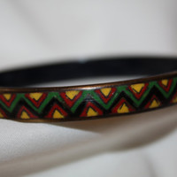 Vintage Chevron Enamel Bangle Bracelet,  1960s Jewelry, Red Green Yellow Enamel