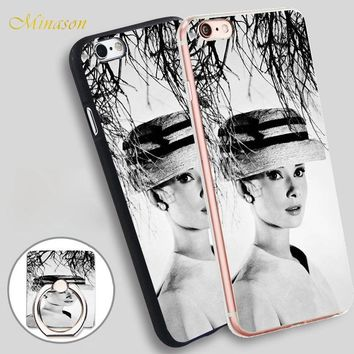 Minason audrey hepburn funny face Mobile Phone Shell Soft TPU Silicone Case Cover for iPhone X 8 5 SE 5S 6 6S 7 Plus