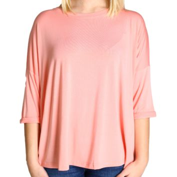 Peach Piko Loose Sleeve Top