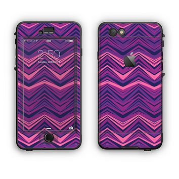 The Purple and Pink Overlapping Chevron V3 Apple iPhone 6 LifeProof Nuud Case Skin Set