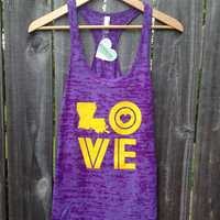 Throwback LOVE Ladies Tank in Purple and Gold - FREE hair tie with purchase