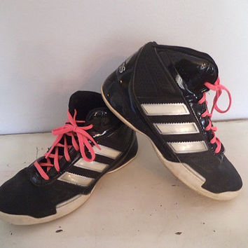 Vintage Black High Top ADIDAS Tennis Shoes ~  Woman's size 6 1/2 1980s Kicks
