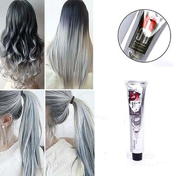 1Pc 100Ml Fashion Light Gray Color Natural Permanent Super Hair Dye Cream