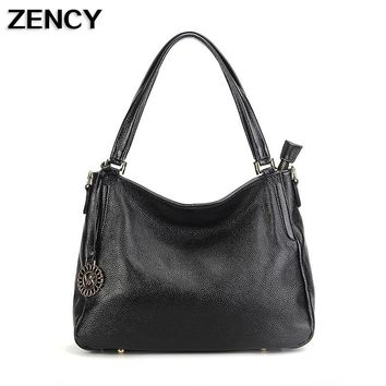 ZENCY Fashion Women Genuine Leather Shoulder Female Long Strap Crossbody Messenger Tote Bags Handbags Ladies Satchel For Girls