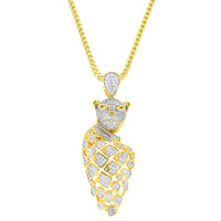 """Custom Iced Out Designer Owl Pendant 18k gold Finish with Free 24"""" Franco Necklace"""