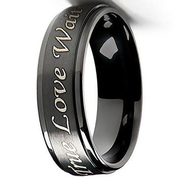 CERTIFIED 6mm True Love Waits Purity Ring in Titanium Black Plated - Men's & Women's Sizes