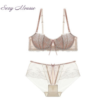 Sexy Mousse Luxury Women Lace Push Up Bra Set VS Pink Plus Size Print Ultra-Thin And Thin Cup Underwear Set Lace Brassiere Panty