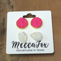 Mecca Fox Tear Drop and Hot Pink Stud