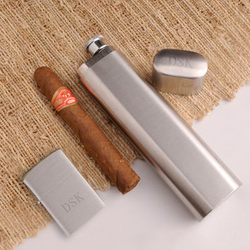 Personalized Cigar Case Flask and Zippo Lighter Combo - Groomsmen Gift - Best Man Gift - Fathers Day Gift