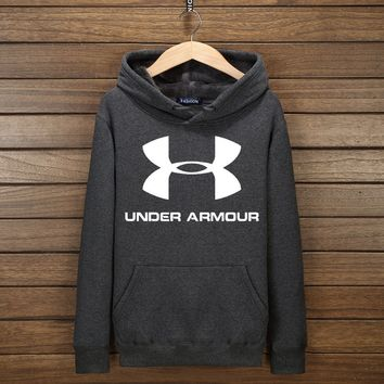 Under Armour Fashion Print Cotton Long Sleeve Sweater Pullover Hoodie Sweatshirt Dark Grey  G-YSSA-Z