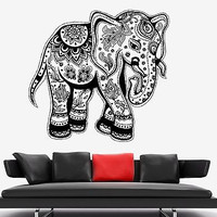 Wall Vinyl Elephant Floral Tribal Ornament Mural Vinyl Decal (z3364)