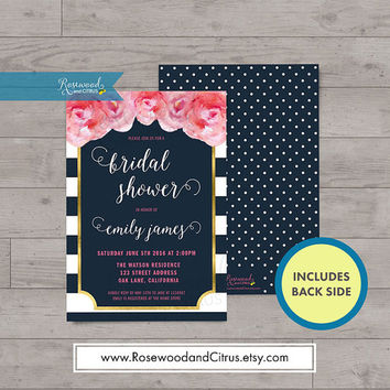 Watercolor Roses Bridal Shower Invitation, Faux Gold Bridal Shower Printable Invitation, Blue Bridal Shower Invite, Floral Bridal Brunch