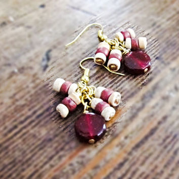 Marsala dangle earrings, eco friendly up cycled repurposed bead earrings, red and gold earrings, recycled jewelry, Marsala jewelry gift