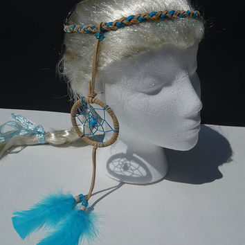 Beige and Turquoise braided suede dreamcatcher headband