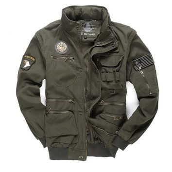 Trendy New Military Men's 101 Flight Jackets Removable Sleeve Casual Hooded Men Multi-pocketed Tooling Jacket Coat M~4XL BF657 AT_94_13