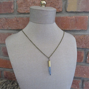Bullet Casing Quartz Crystal Necklace Jewelry Blue Coated Bullet Casing Upcycled Azeetadesigns