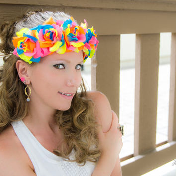 Neon Rainbow Rose Flower Crown, Flower Headband, Rave Outfit, Pride Headband, Burning Man, Coachella, Electric Daisy Carnival, PLUR, Ezoo