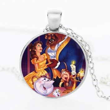 SUTEYI New Style Anime Necklace Cothic Glass Cabochon Beauty Necklace and the Beast Pendant Jewelry Christmas Gift For Kids