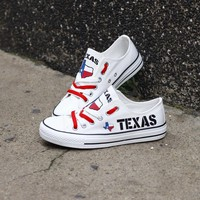 Texas White Flag Pride Low Top Canvas Shoes Custom Printed Sneakers