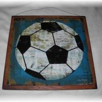 Soccer Ball Wooden Boys Sports Bedroom Wall Art Sign