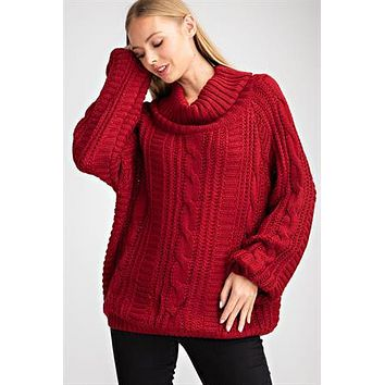 Cable Knit Cowl Neck Pullover - Burgundy ONLY 1 L LEFT
