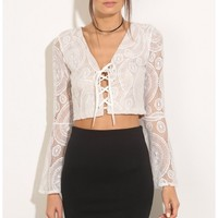 Tops > Plunge Lace-Up Crop Top In White