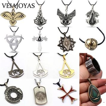 Trendy Statement Necklace Assassin's Creed Necklace Assassin Alloy Amulet Pendant Charms Necklaces Punk Jewelry for Women collar