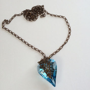 Large Aquamarine Crystal Heart Pendant Necklace Long Layering Necklace Artisan Jewelry Etsy Gift For Her Etsy Gift Idea