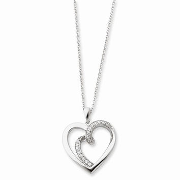 Sterling Silver & CZ Soulmate Heart Necklace