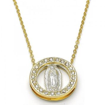 Gold Layered Fancy Necklace, Guadalupe and Dolphin Design, with Crystal, Two Tone