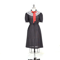 Vintage 50s Black Polka Dot Dress - Schoolgirl Dress - Rockabilly - 1950s Lace Collar Dress - M L