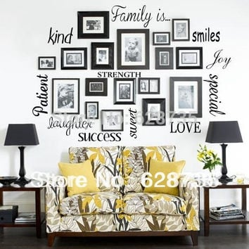 Free Shipping wall stickers home decor - FAMILY IS Vinyl Lettering Words Wall Art Quote Sticky Decals f1001