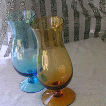 Colored Glass Vases, Amber Gold and Topaz Blue, Vintage, Handblown and Pedestal.