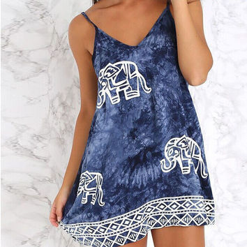 Fashion Cowboy Blue Tie Dye Elephant Printed Dress