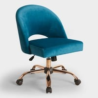 Blue Velvet Cosmo Upholstered Office Chair