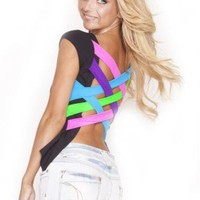 Quontum Neon Lattice Strap Back Top
